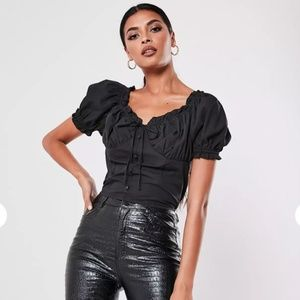 Black poplin button front ruched crop top
